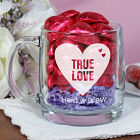Engraved True Love Glass Mug w/Choc Hearts