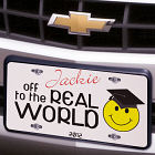 Off to the Real World Graduation Personalized License Plate