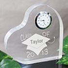 Engraved Class Of Graduation Keepsake Heart Clock