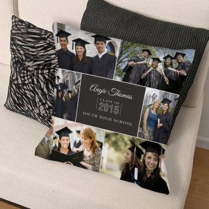 Graduation Photo Collage Throw Pillow