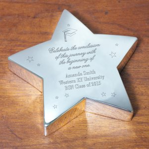 Engraved Graduation Silver Star Keepsake