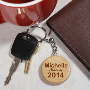 Engraved Class Of Wood Round Key Chain