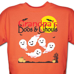 Boos and Ghouls Personalized Halloween Orange T-Shirt