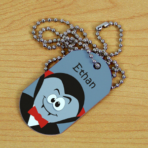 Custom Printed Halloween Dog Tag | Personalized Kids Necklace