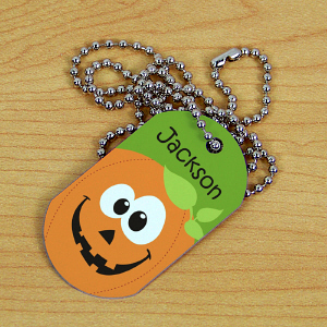 Personalized Halloween Pumpkin Dog Tag | Personalized Kids Necklace