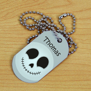 Skeleton Halloween Dog Tag | Personalized Kids Necklace