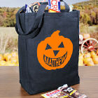 Happy Pumpkin Personalized Black Canvas Trick or Treat Tote Bag