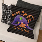Personalized Happy Halloween Throw Pillow
