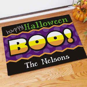 Personalized Happy Halloween Door Mat