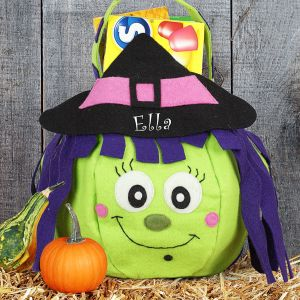 Embroidered Witch Halloween Basket | Personalized Halloween Baskets