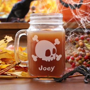 Engraved Halloween Characters Mason Jar Set