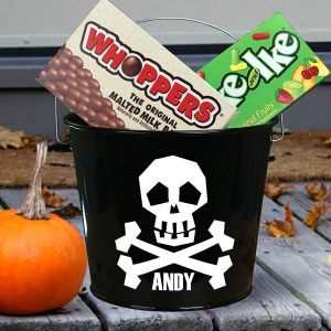 Personalized Skull Halloween Bucket V78364BK