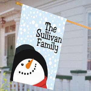 Personalized Snowman House Flag