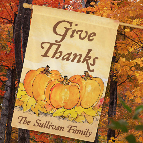 Personalized Give Thanks House Flag 83030692L