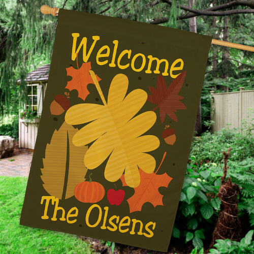 Personalized Welcome Fall House Flag 83037232L