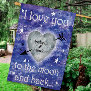 Personalized To The Moon and Back House Flag