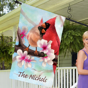 Personalized Spring Cardinals House Flag