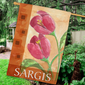 Personalized Red Tulips Welcome House Flag