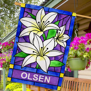 Personalized Lily Flowers Welcome House Flag