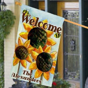 Personalized Sunflower Welcome House Flag