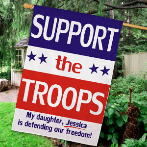 Personalized Support Our Troops House Flag