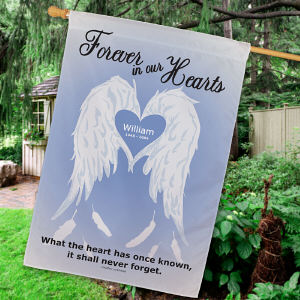 Personalized Forever In Our Hearts Memorial House Flag