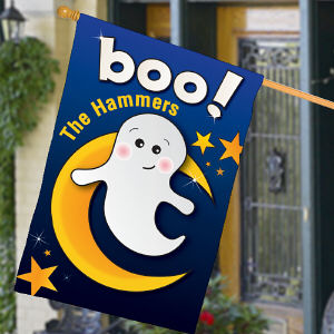 Personalized Friendly Ghost Halloween House Flag