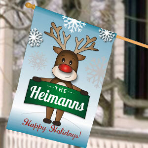 Personalized Reindeer House Flag