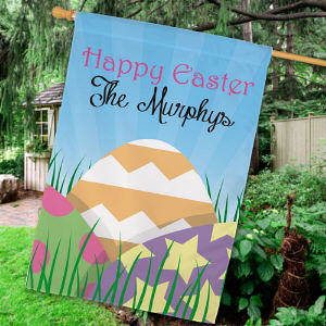 Personalized Easter Eggs House Flag