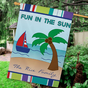 Personalized Summer Fun House Flag