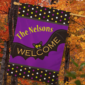 Halloween Welcome Personalized House Flag