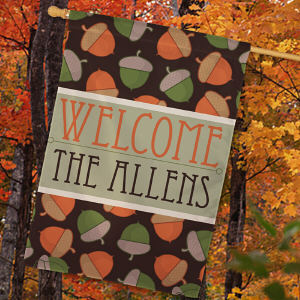 Personalized Fall Welcome House Flag