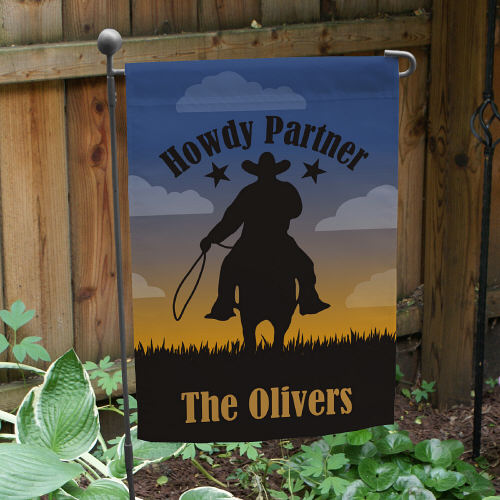 Personalized Cowboy Welcome Garden Flag 83069442