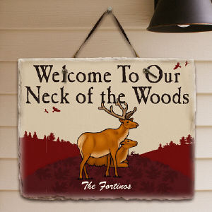 Neck Of The Woods Personalized Slate Plaque