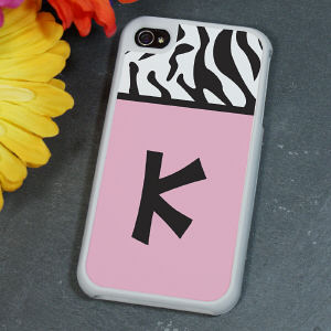 Personalized Zebra Print iPhone 4S Case