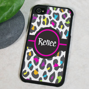 Personalized Multicolored Leopard Print iPhone 4 Case