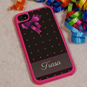 iPhone 4S Pink Bow and Polka Dots Case