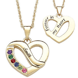 Family Name & Birthstone Heart Pendant Necklace