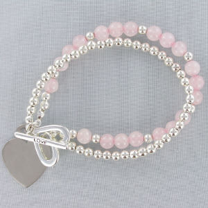 Engraved Genuine Rose Quartz and Silvertone Love Bracelet