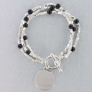 Engraved Genuine Black Agate Silvertone Bracelet