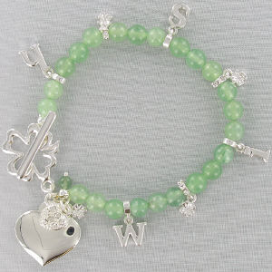 Engraved Green Aventurine Wish Bracelet