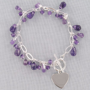 Engraved Silvertone Amethyst Bracelet| Personalized Bracelets For Mom