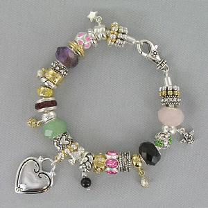 Engraved Antique Two -Tone Heart Bracelet