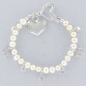 Engraved Freshwater Pearl Mom Bracelet | Personalized Bracelets For Mom