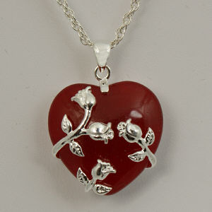 Red Jade Heart with Silvertone Trailing Rose Pendant