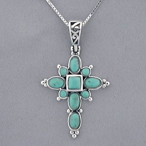 Sterling Silver and Turquoise Cross Pendant D1DG1919