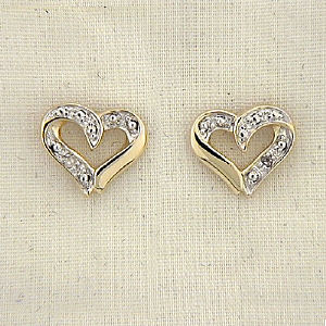 Diamond Accent Two Tone Heart Earrings