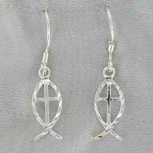 Sterling Silver Icthus Fish Hook Earrings