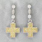 Two-Tone Cubic Zirconia Cross Dangle Earrings