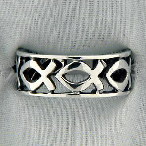Sterling Silver Icthus Band Ring
